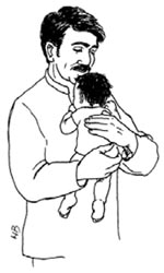 A father hold his newborn baby.