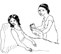 A mother is sitting up in bed. A health worker offers the mother her baby and she looks away.