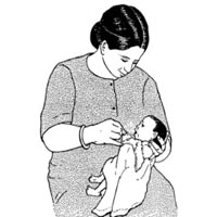 A woman is feeding a tiny baby from a cup.