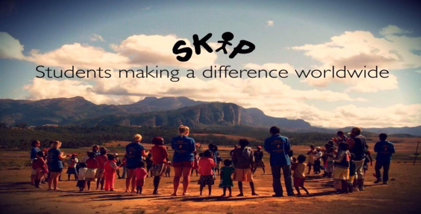 students making a difference pic and skip logo text over shot of students