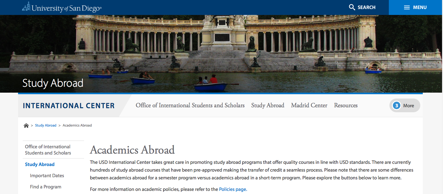 Photo of the USD International Center website's Academics page