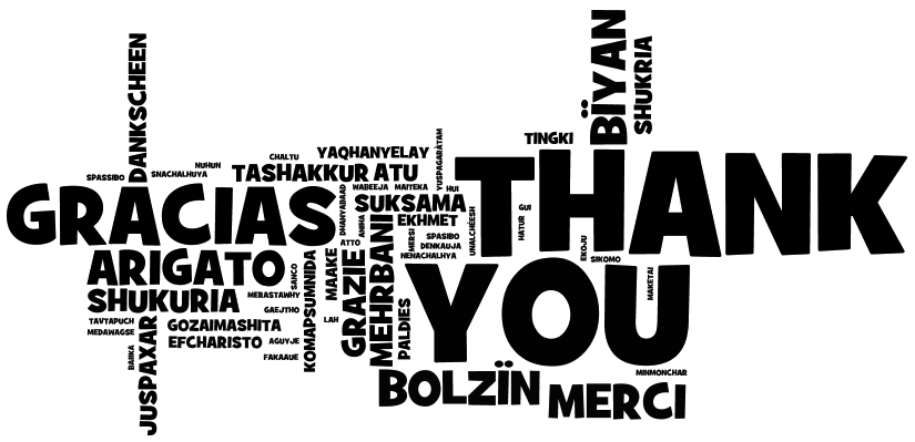 Black and White word cloud displaying Thank You in many languages