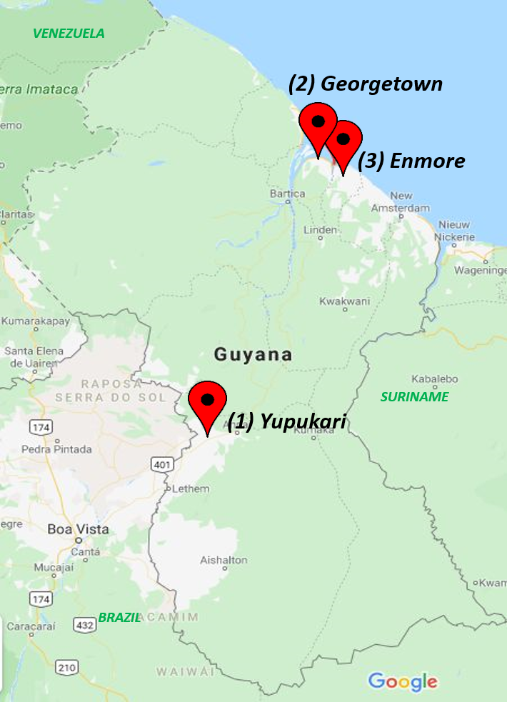 Map of Guyana indicating the location of the communities in Georgetown, Enmore and Yupukari.