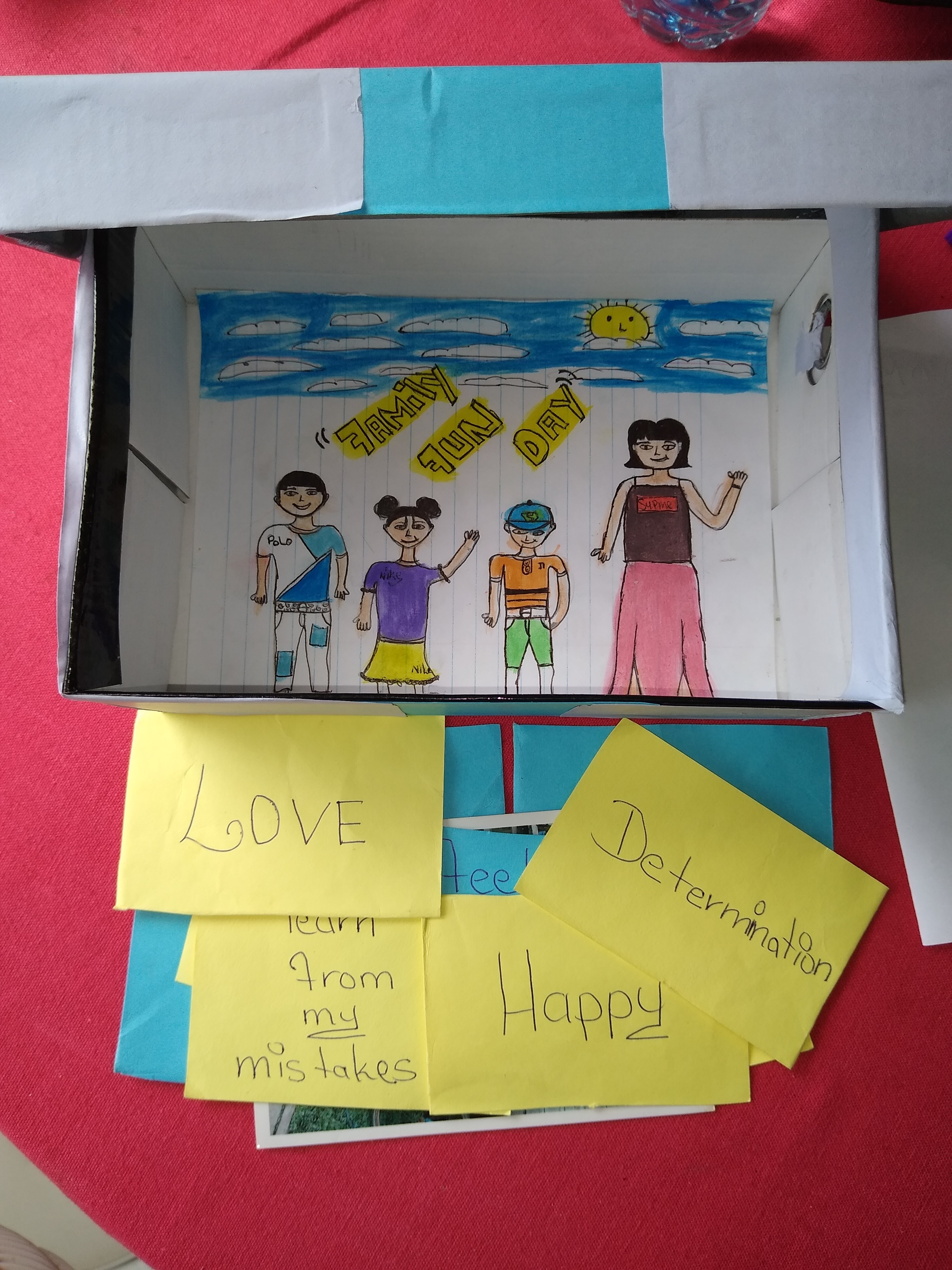 """Opened box from the previous picture showing a family waving hands and with sticky notes saying """"Love"""", """"Determination"""", """"learn from my mistakes"""" and """"Happy"""""""