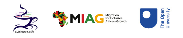 Evidence Cafe, Migration for Inclusive African Growth, The Open University logos