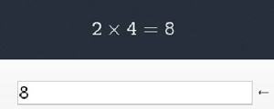 Calculator screen showing result two times for equals eight
