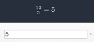 Calculator screen showing result ten divided by two equals five