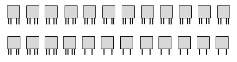 Picture representing 24 creatures each having two legs plus another two legs