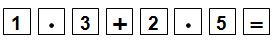 Key sequence showing 1.3 plus 2.5 equals