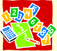 Numbers, calculator and 4 minus 2 equals 2