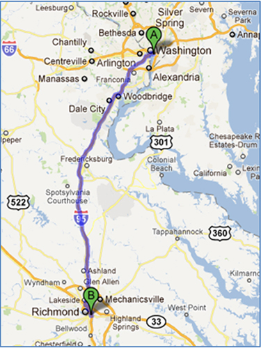 Map showing route from Washington to Richmond