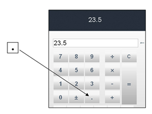Calculator showing 23.5 and an arrow pointing to the period key