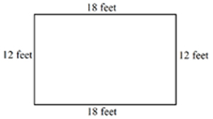Shape representing a rectangular garden showing top and bottom sides of 18 feet and left and right sides of 12 feet