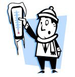 Man holding a frozen thermometer