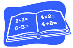 Image of book with 2 plus 3 equals, 6 minus 3 equals on the left hand page and 4 multiplied by 2 equals and 4 divided by 2 equals on the right hand page