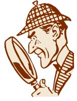 A detective holding a magnifying glass