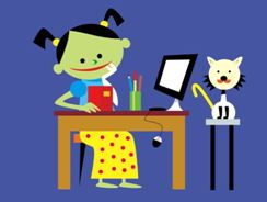 Cartoon of girl sitting at table with computer screen and cat sitting on a stool