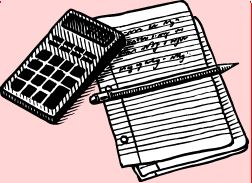 Calculator, notepad and pencil
