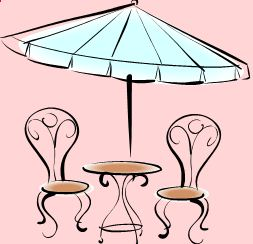 Tables and chairs with parasol