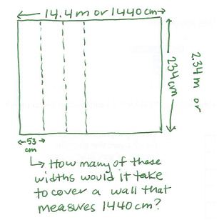 This is a sketch of a rectangle with the length marked as 14.4 m or 1440 cm and the width marked as 234 cm. Two strips of width 53 cm have been marked off the length. The question says how many of these widths would it take to cover a wall that measures 1440cm?