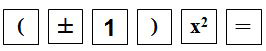 Key sequence showing opening parenthesis plus and minus sign 1 closing parenthesis and x squared