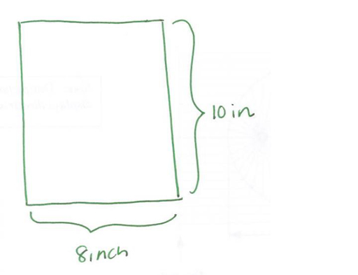 A green rectangle showing 10 inch on the right hand side and 8 inch on the bottom