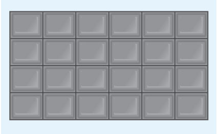 This is a picture of a bar of chocolate divided into four rows, each with six chunks in.
