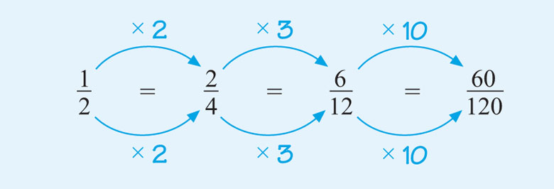 This diagram shows that one-half is equivalent to two-quarters by multiplying the top and bottom of one-half by two. It also shows that two-quarters are equivalent to six-twelfths by multiplying the top and bottom of two-quarters by three and that six-twelfths are equivalent to sixty one-hundred and twentieths by multiplying the top and bottom of six-twelfths by ten.