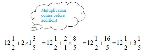 Math with bubble hint saying multiplication comes before addition