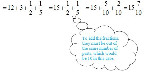 """Bubble containing hint """"To add the fractions, they must be out of the same number of parts, which would be 10 in this case."""""""
