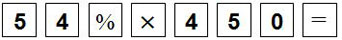 Key sequence showing 54 percent multiplied by 450 equals