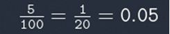 Sum showing 5 divided by 100 equals 1 divided by 20 equals 0.05