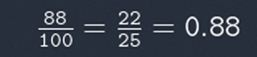 Sum showing 88 divided by 100 equals 22 divided by 25 equals 0.88