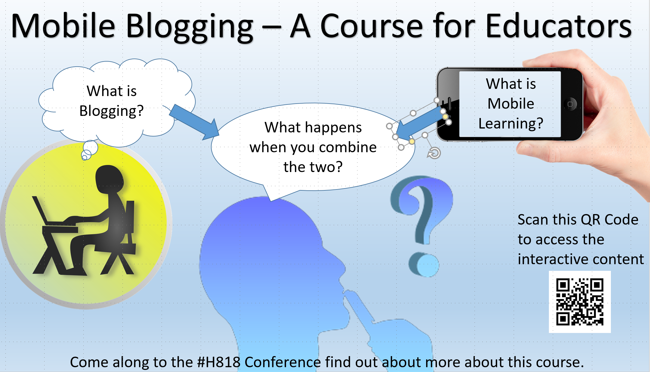 This image shows a conference posted advertising the H818 Open University Conference.  It includes a QR Code which enables the reader to access and Augmented Reality layer with two playable videos.