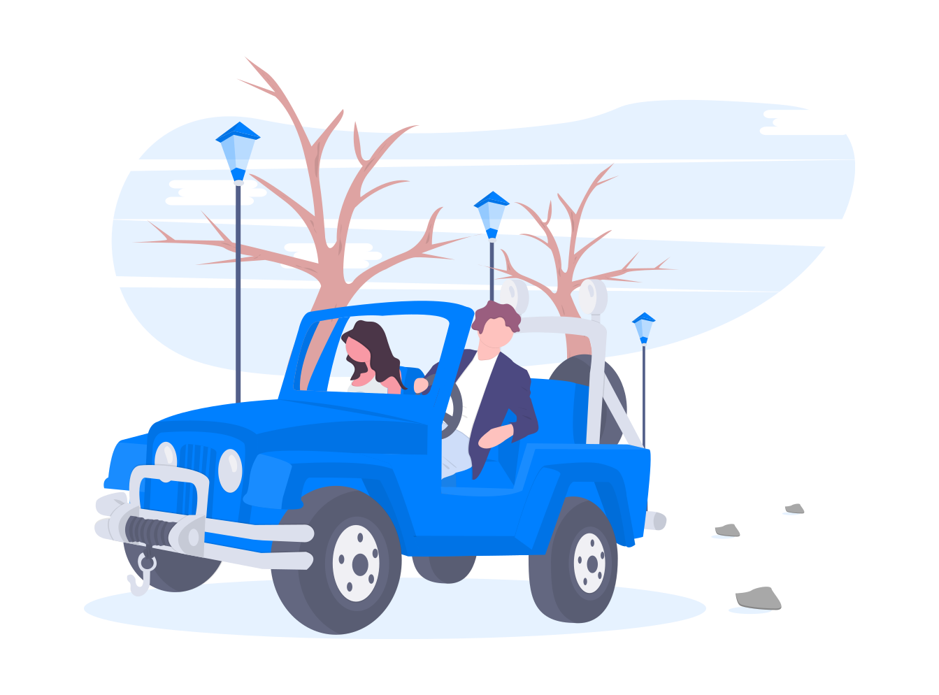 Man and women in a blue car