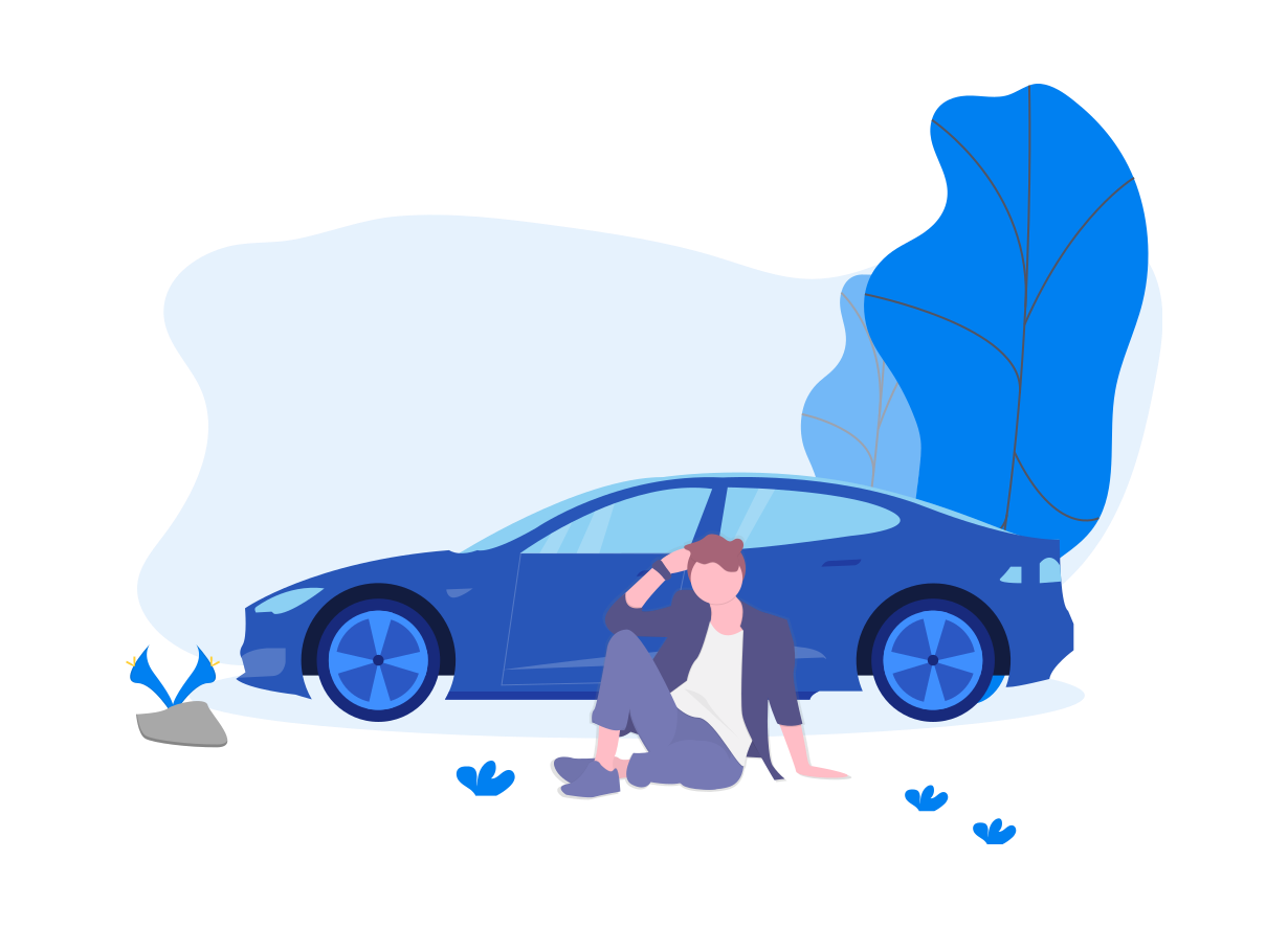 Man sitting in front of his blue car.