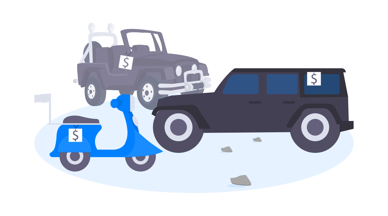 One grey vehicle on the top left, black vehicle on the right, and blue vehicle on the bottom left