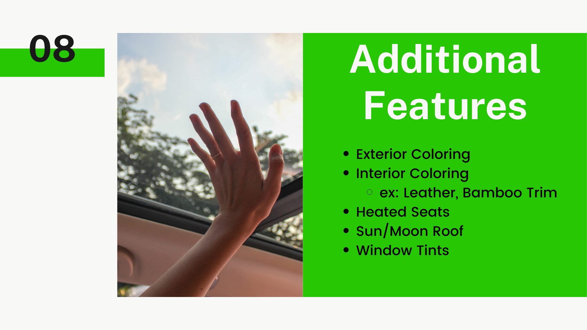 Exterior Coloring. Interior Coloring (examples: Leather, Bamboo Trim). Heated Seats. Sun/Moon Roof. Window Tints.