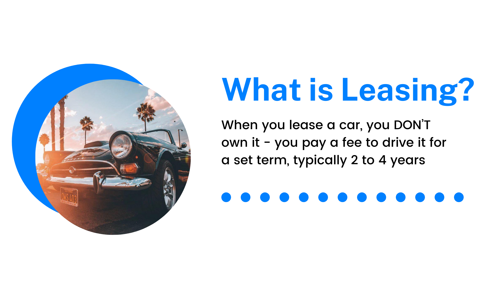 When you lease a car, you DON'T own it - you pay a fee to drive it for a set term, typically 2 to 4 years