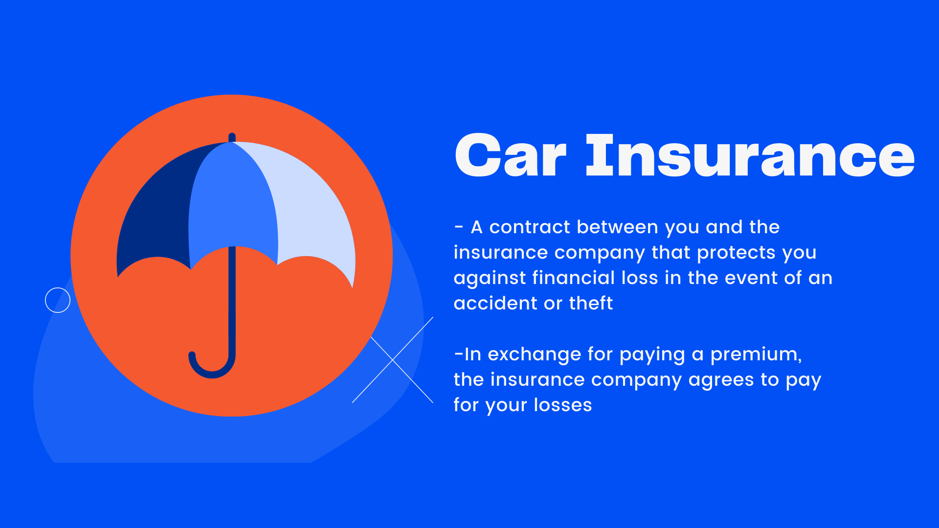 A contract between you and the insurance company that protects you against financial loss in the event of an accident or theft. In exchange for paying a premium, the insurance company agrees to pay for your losses.