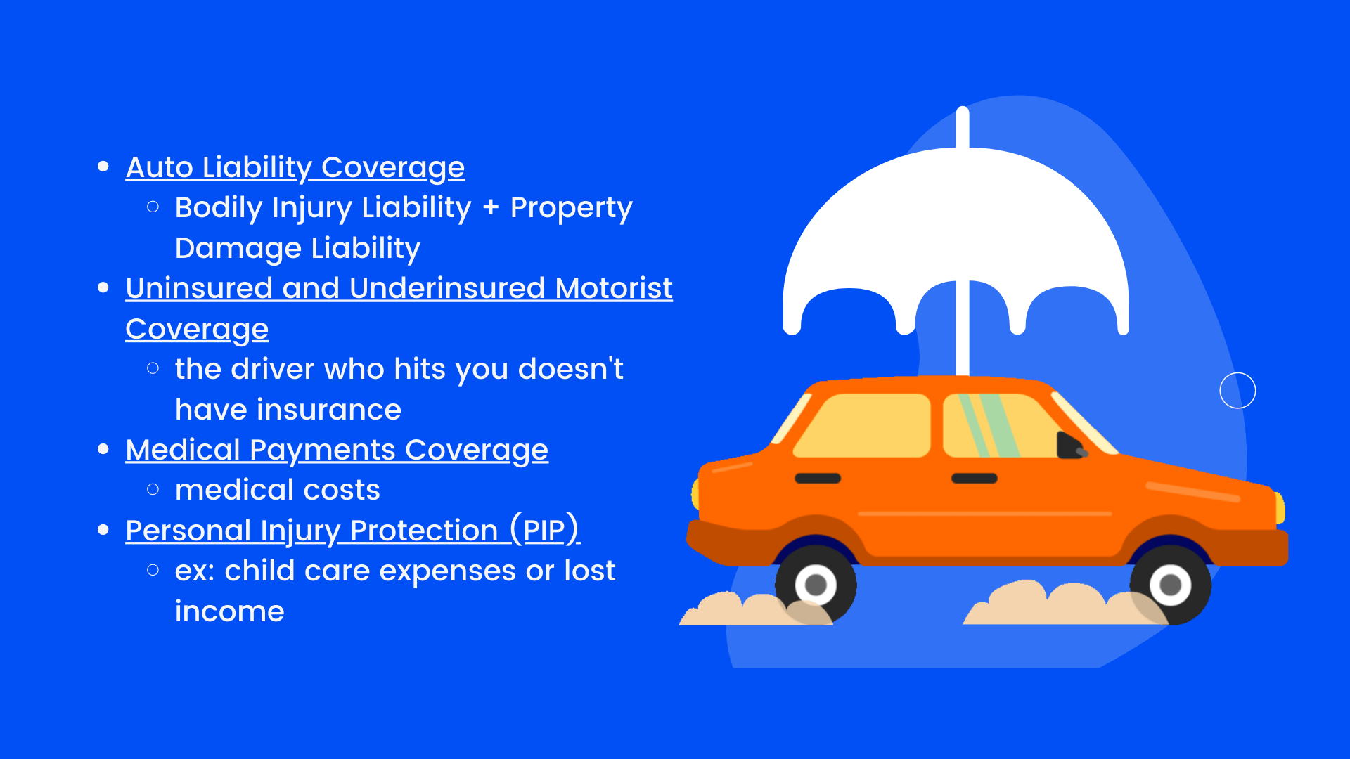 Auto Liability Coverage, Uninsured and Underinsured Motorist Coverage, Medical Payments Coverage, and Personal Injury Protection (PIP)