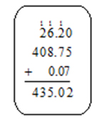Image showing 26.20 plus 408.75 plus 0.07 equals 435.02 with 111 above 26.20