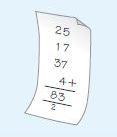 This diagram shows the numbers 25, 17, 37, and 4 arranged underneath each other so that the place-value columns line up. The answer is shown as 83.