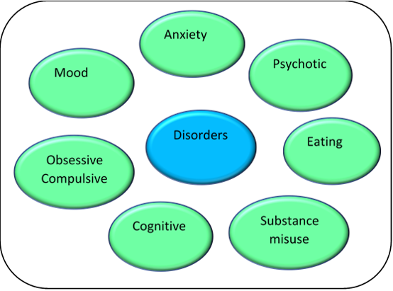 A diagram showing the main categories of common mental health disorders: Anxiety, Mood, Psychotic, Eating, Obsessive Compulsive, Cognitive and Substance misuse