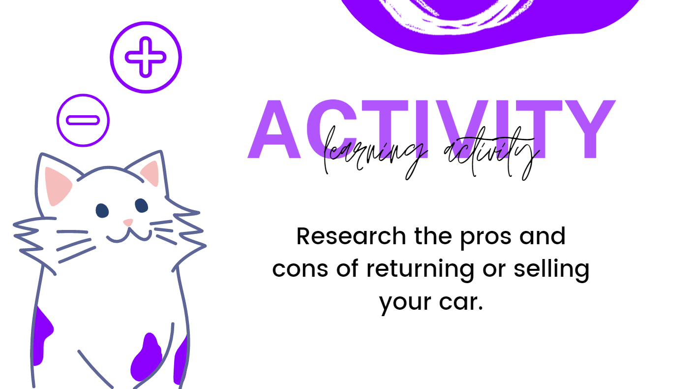 Research the pros and cons of returning or selling your car.