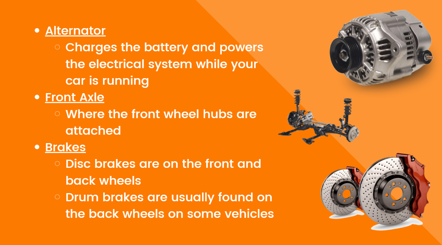 Alternator: Charges the battery and powers the electrical system while your car is running. Front Axle: Where the front wheel hubs are attached. Brakes: Disc brakes are on the front and back wheels. Drum brakes are usually found on the back wheels of some vehicles.