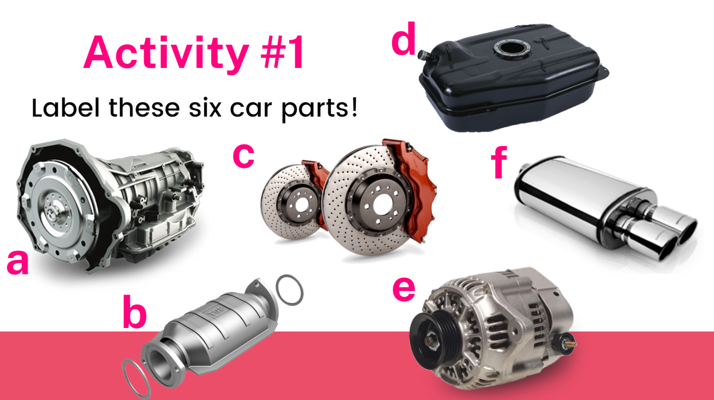 Label these six car parts!
