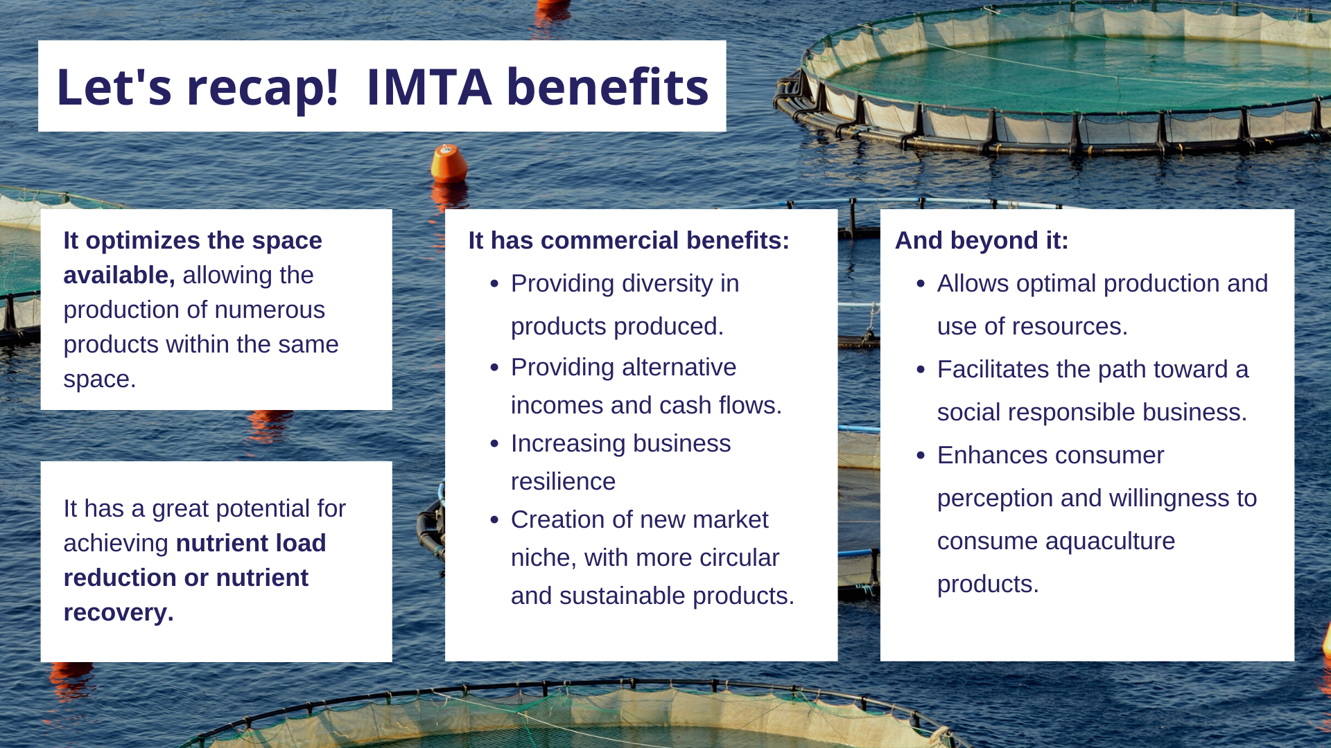 To summarize, these are the most relevant benefits of IMTA.