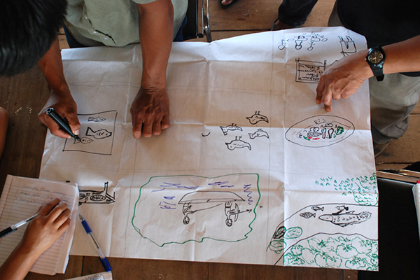 A photo from above looking down on a table with people around it producing a participatory drawing