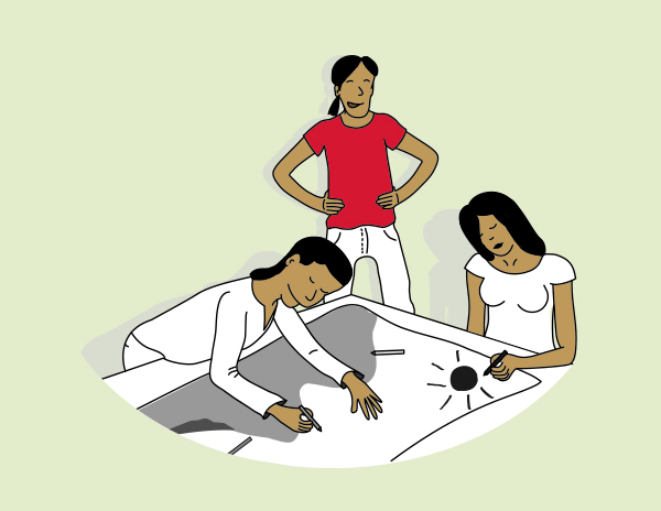 Illustration of three people working on a drawing